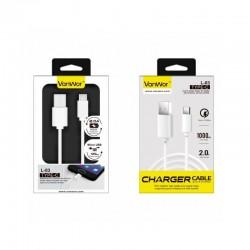 CABO TIPO C 1METRO 2A PVC | BRANCO (08296 | L-03)