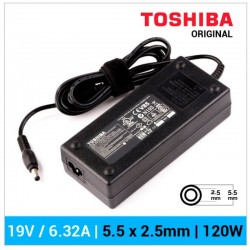 CARREGADOR TOSHIBA ORIGINAL | 19V / 6.32A | 5.5 x 2.5mm...
