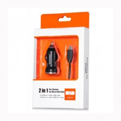 CARREGADOR AUTO MICRO USB | 2 EN 1 | NEGRO (03962|6304)